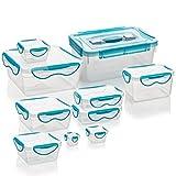 Genius Clip Fresh–Boites de conservation | Set de–Rectangulaire–10pièces–Conforme à la norme–libre–Boîte de conservation–| tiefkühl | micro-ondes | Lave-vaisselle Boîtes Multifonction | neuf