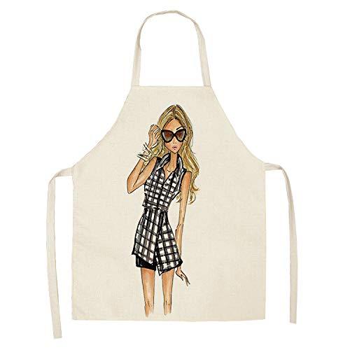 YXDZ Schürze Europäische Mode Küche Nette Frauen Baumwolle Herren Arbeitskleidung Kochen Frauen Taille Wasserdicht Ölbeständig Erwachsener E -
