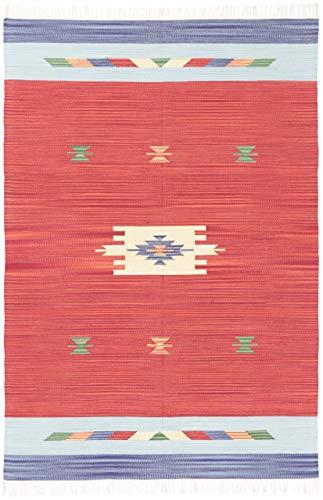 CarpetFine: Alfombra Lana Kilim Amal 120x170 cm Rojo