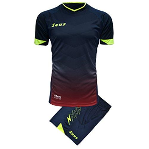 Zeus Kit Virgo Herren Trikot Shirt Hosen Klein Armel Kit Fußball Hallenfußball (M, BLAU-ROT) BLAU-ROT
