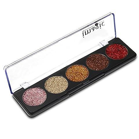 Weisy 5 Couleurs Palette Ombre à Paupières Durable Poudre Shining Professionnel pour Maquillage de Fête