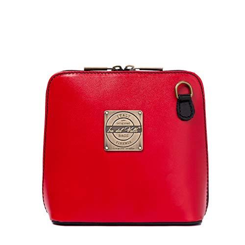 Ira del valle, borsa a tracolla donna ragazza, pochette elegante a spalla con catena, clutch in vera pelle, piccola borsetta a mano, modello oxford city bag, made in italy (rosso e nero b)