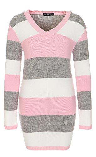 WeaModa Damen langarm Feinstrick Strickpullover Strickkleid Long Pullover 34/36/38 (Einheitsgröße) rosa/grau