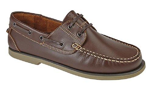 Bild von Dek Deck Boot Herren Mokassin Schuh Leder, Braun - Braun - Größe: 45