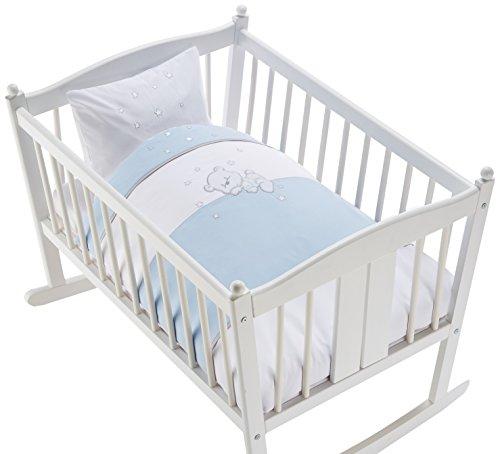 Easy Baby 815-37 Parure de lit avec broderie de qualité motif Bear, 80/80 Plus 35/40, Blue