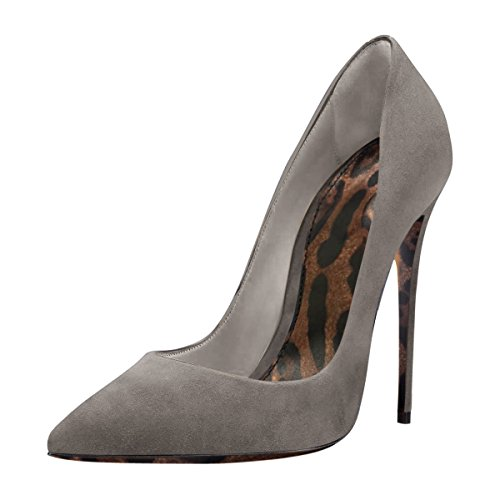 Damenschuhe Pumps Spitze Zehen Stiletto High Heel Leopard Sohle Rutsch Dress Party Hochzeit Grau