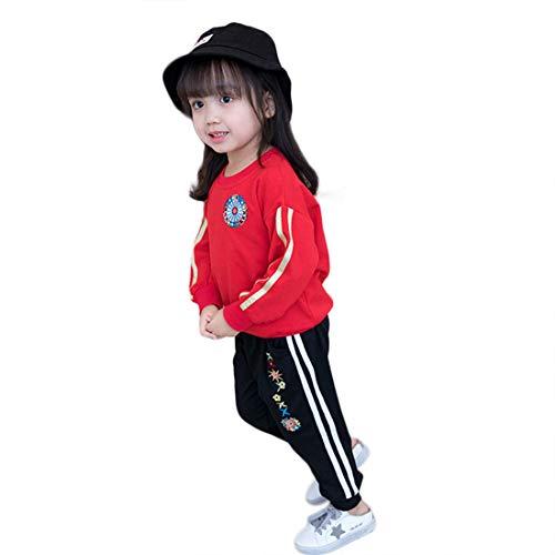 Mädchen Sportanzug Rundhals Sweatshirt und Sweathose Zweiteilig Kinder Freizeit Langarmshirt Jungens Jogginghose mit Bündchen Relaxed Bekleidungsset Girl's 2-8 Jahre (92 7#) - Jersey Girl Kinder Sweatshirt