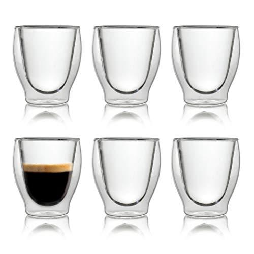 Caffé Italia Milano 6 x 60 ml Doppelwand-Thermo-Gläser - für Espresso Tee Heiß- und Kaltgetränke - spülmaschinengeeignet -