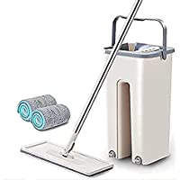 TIMESOON Unique Microfiber Flat Mop with Bucket, Cleaning Squeeze Hand Free Floor Mop, Extra 1 Reusable Mop Pads…