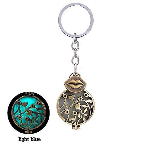 Revinz (TM) Bullet Turquoise lumineux Porte-clés Charm cœur lumineux Glow in the Dark Lips creux Pendentif fleur Porte-clés pour femme, Lip?