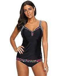 Mooyii Damen Tankini Set Bikini Beachwear Bademode Strandmode Gepolstert  Oberteile + Slip Schwimmanzug Zweiteilig Badeanzug a87772f4b4