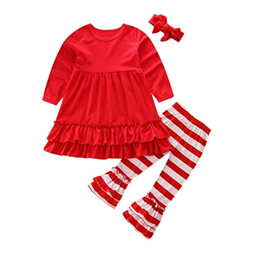 OVERDOSE Mädchen Outfits Kleidung Set, Kleinkind Baby Mädchen Schmetterlings Hülsen Blusen Oberteil Tops Kleid + Gestreift Streifen Hosen 3PCS Outfits(2T,Rot) (Prinzessin Kostüm 2t)