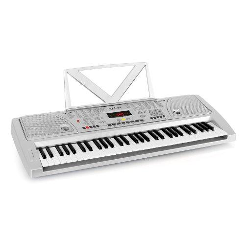 Schubert Ètude-61Keyboard Digital Piano (61 Tasten, Anschlagdynamik, Aufnahmefunktion, Line-Ausgang, 100 Klangfarben, 100 Rhythmen, 8 Schlagzeuge, 12 Demo-Songs) silber