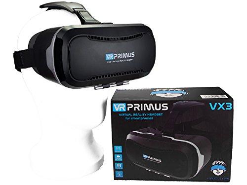 VR-PRIMUS® VX3 VR Brille, kompatibel mit iPhone und Android Handy \'s bis 5.8 Zoll z.B. iPhone SE 6 6s 7 8 X XS, Samsung Galaxy S6 S7 S8 S9, Huawei p10 p20,LG G6, HTC, Pixel. Mit Google Cardboard Apps