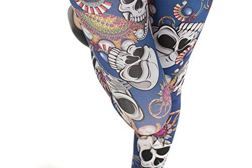 YesFashion Femme Pantalon Jegging Elasticité Collant Legging Thermique compression imprimé squelette Tête de mort Bleu
