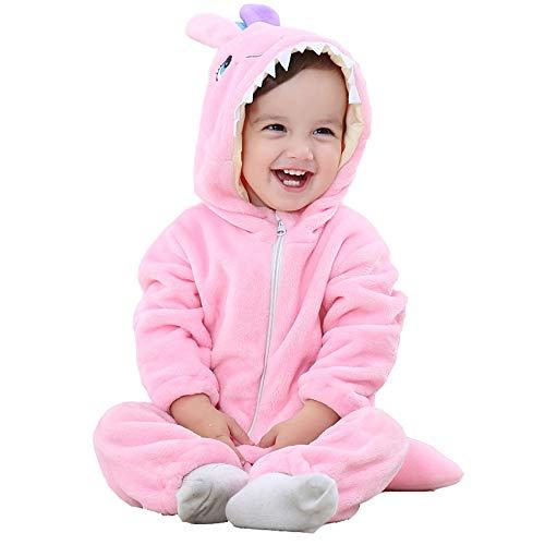 Trayosin Baby Flanell Winter Strampler Bekleidung Jumpsuit Spielanzug Kapuze für Mädchen und Junge (Rosa, 80cm)