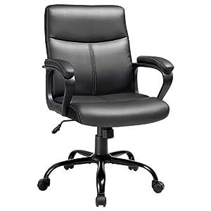 SONGMICS Bürostuhl, Schreibtischstuhl, Chefsessel mit Kunstleder-Bezug, gemütliche Polsterung, höhenverstellbar zwischen 93 und 103 cm, Wippfunktion, Sternfuß aus Stahl, schwarz OBG39BK