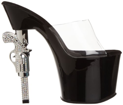 Pleaser - Revolver-701, Sandali Donna Nero (Clr/Blk)