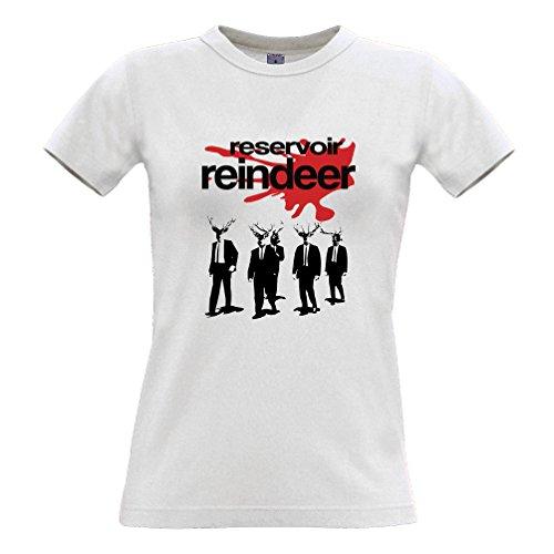 Reservoir Renna regalo di Natale slogan stampato Citazione design T-Shirt Da Donna White