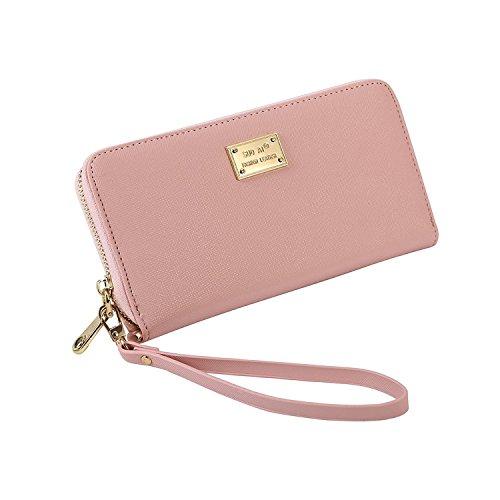 Geldbörse Damen IHRKleid® Leder Elegant Süß Handtasche Portemonnaie Geldbeutel (Rosa) (Leder Große Rosa)