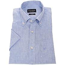 Bots & Bots 187005 Camisa para Hombre - Manga Corta - 100% Lino - Button Down - Normal Fit