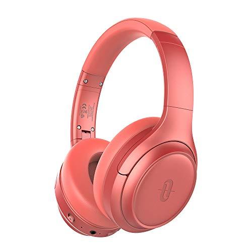 TaoTronics Active Noise Cancelling Bluetooth 5.0 Kopfhörer, Tiefer Bass mit CVC Geräuschunterdrückendes Mikrofon, 24 Std. Wiedergabedauer, Komfortable Ohrpolster für Reisen tragen (Orange)