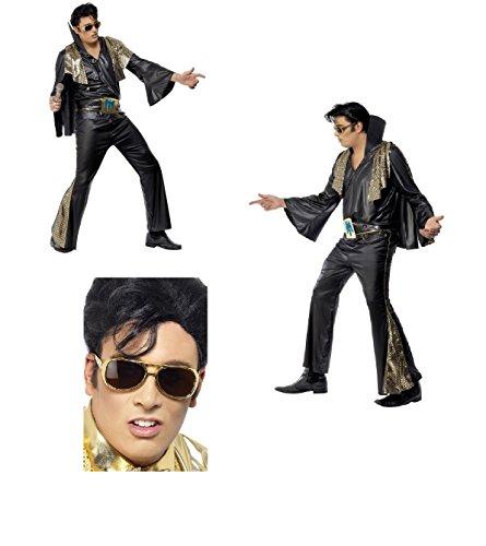 Kostüm Erwachsene Elvis Für Cape - Fancy Dress Four Less Elvis Presley Erwachsene 1950Faschingskostüm, schwarz & gold, mit Hemd, Hosen, Cape und Gürtel Las Vegas The Rock n Roll King Teddy Boy mit gratis Elvis Shades