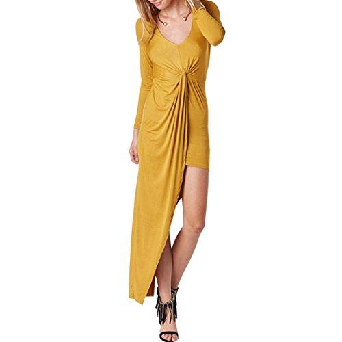 QIYUN.Z Les Femmes Jaune/Bleu Profond Mince Longue Robe Asymetrique Ourlet Manches Longues Automne Jaune