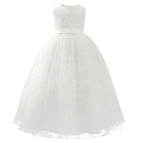 Sunday Festliches Mädchen Kleid Prinzessin Blumenmädchen-Kleid Hochzeit Brautjungfern Festzug Kleider Weiß (Alter: 4J, Weiß) (Kleid Für Blumenmädchen Bei Hochzeiten)