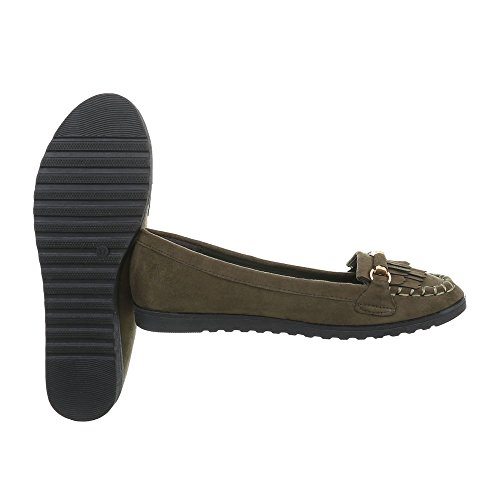 Ital-Design Chaussures Femme Mocassins Plat Slippers Olive TS11