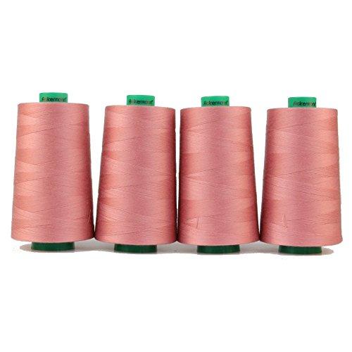 4x 5.000m ACKERMANN UNIVERSAL NÄHGARN, Stärke 120, Qualitätsgarn, Overlock Garn, Garn für Overlock-Nähmaschinen (0812 Rosa) (Thread Jean)
