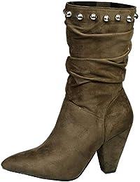 9de7e8057f87 Feet First Fashion Analia Womens Mid Heel Pull On Zip up Studded Calf Boots