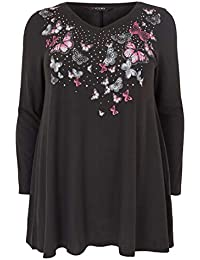 75a158aa487bd Yours Clothing Women s Plus Size Studded Butterfly Swing Top