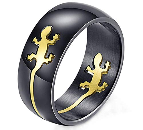 DIBMXC Kreative einfache Gecko Muster Gravierte Schwarz zogene Ringe für Herren in Edelstahl