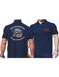 Polo (Bleu marine/bleu marine) Sapeurs Pompiers Casque–Courage et dévouement–Marque Rouge