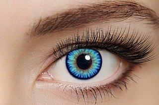 2 Kristallblaue hellblaue Kontaktlinsen + GRATIS Behälter (L&R) für 2 farbige Kontaktlinsen ohne Stärke original von Eye-Effect