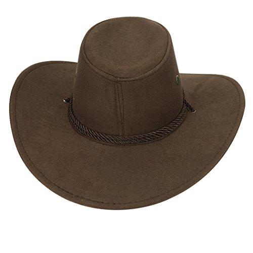 Sombrero de Vaquero, Fascigirl Sombrero de Ala Ancha Sombrero de Traje de Vaquero Occidental de Gamuza Artificial para Hombres