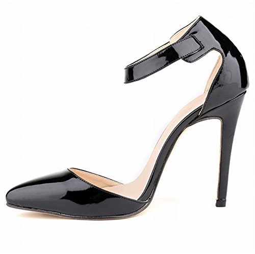 736b5b01760b2e Wealsex Escarpins Sandale Bride Cheville Boucle Vernis PU Cuir Bout Pointu  Talon Aiguille Chaussure de Soirée ...