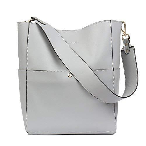 (BOSTANTEN Leder Damen Handtasche Schultertasche Designer Umhängetasche Tasche Groß Grau)