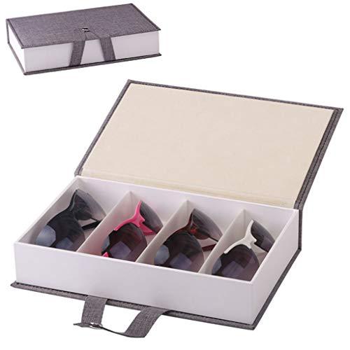VNEIRW PU Leder Sonnenbrillen Abschließbar Organizer Uhrenbox Brillenbox Schmuckkästchen Brillen Display Box mit 4 Fächern - Schmuckschublade für Aufbewahrung und Display (Grau)