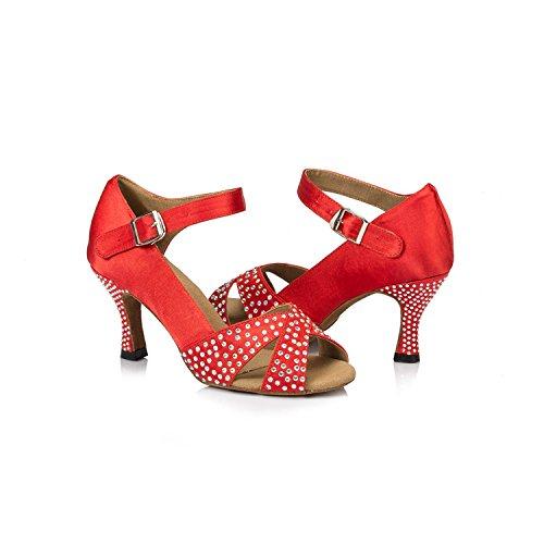 Minitoo évasée en Satin pour femme Talon piste Sandales-Samba-Cha Cha Chaussures de danse red