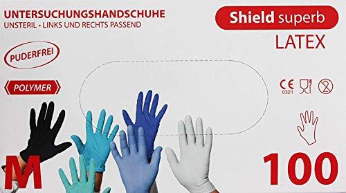 Shield Superb - Guantes látex sin Polvo 100 Unidades