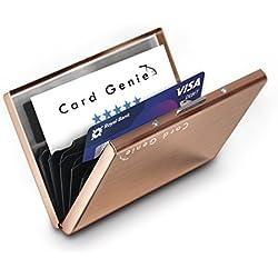 Porte-Cartes Métallique Pour Dames et Hommes avec la Technologie de Blocage IRF Acier Inoxydable Résistant à l'Eau 6 Fentes Protecteur de Carte de Crédit le Plus Fiable par de Card Genie (rose gold)