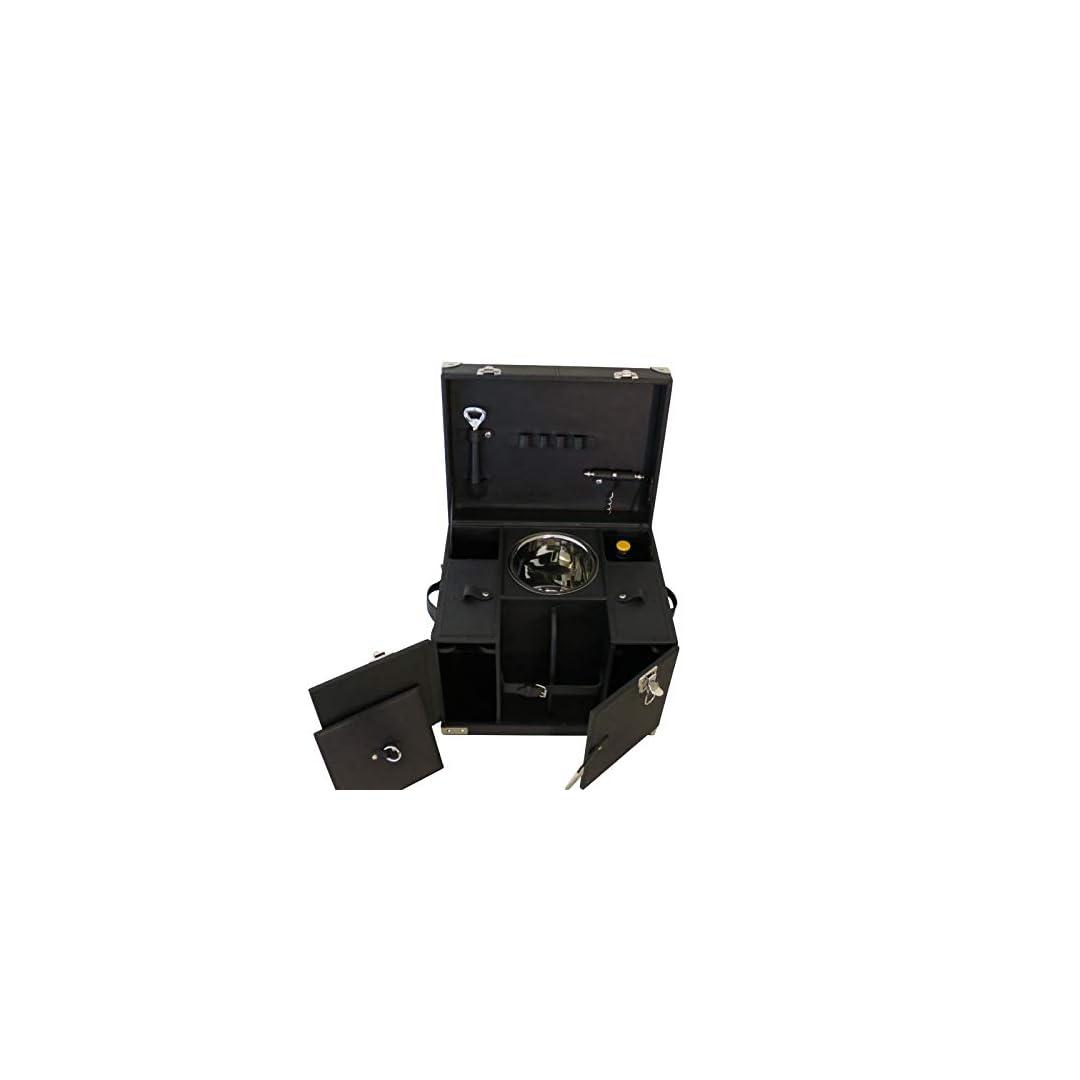 Lusus pur: COFUR Mini Bar Picknickkoffer aus schwarzem Büffel Leder