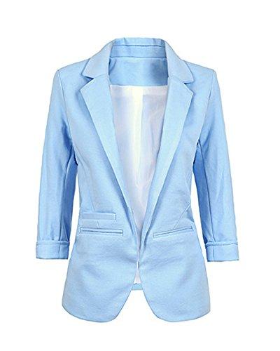 Minetom Damen Elegante 3/4-Arm Blazer Sakko Einfarbig Slim Fit Vorne Offnung Tasche Tailliert Geschäft Büro Kurzjacke Jacke Mantel Hellblau DE 46