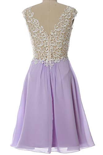 MACloth Women Lace Straps Chiffon Short Prom Dress Formal Party Evening Gown Gelb