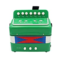 7 Keys 2 Bass Accordion Kids Accordion Toy Solo Ensemble Instrument Musical Educational Instrument for Early Childhood Teaching Green
