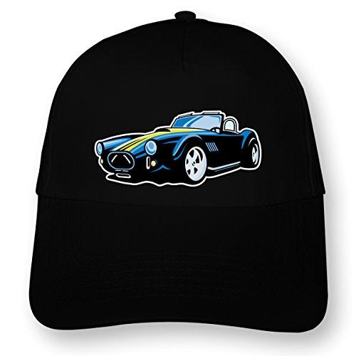 plot4u Bunte Roadster Kinder Kappe USA Muscle Car Cap bedruckt Beechfield Junior Original 5 Panel Cap OneSize schwarz/farbiger Aufdruck