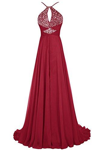 Bbonlinedress Robe de cérémonie Robe de soirée emperlée forme empire avec traîne Rouge Foncé