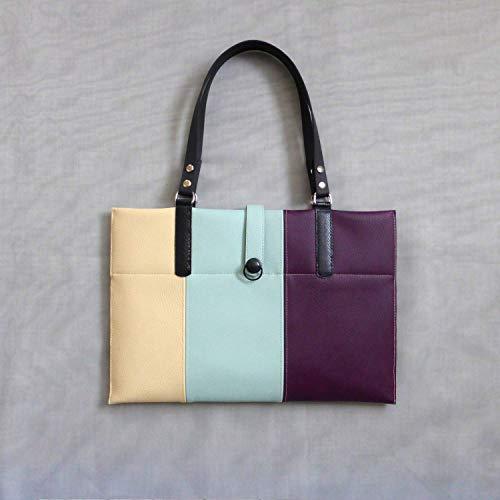 Laptop Laptoptasche Tablet Schultertasche Damentasche violett beige hellblau lila schwarz Zebra, von wagnerstrasse -